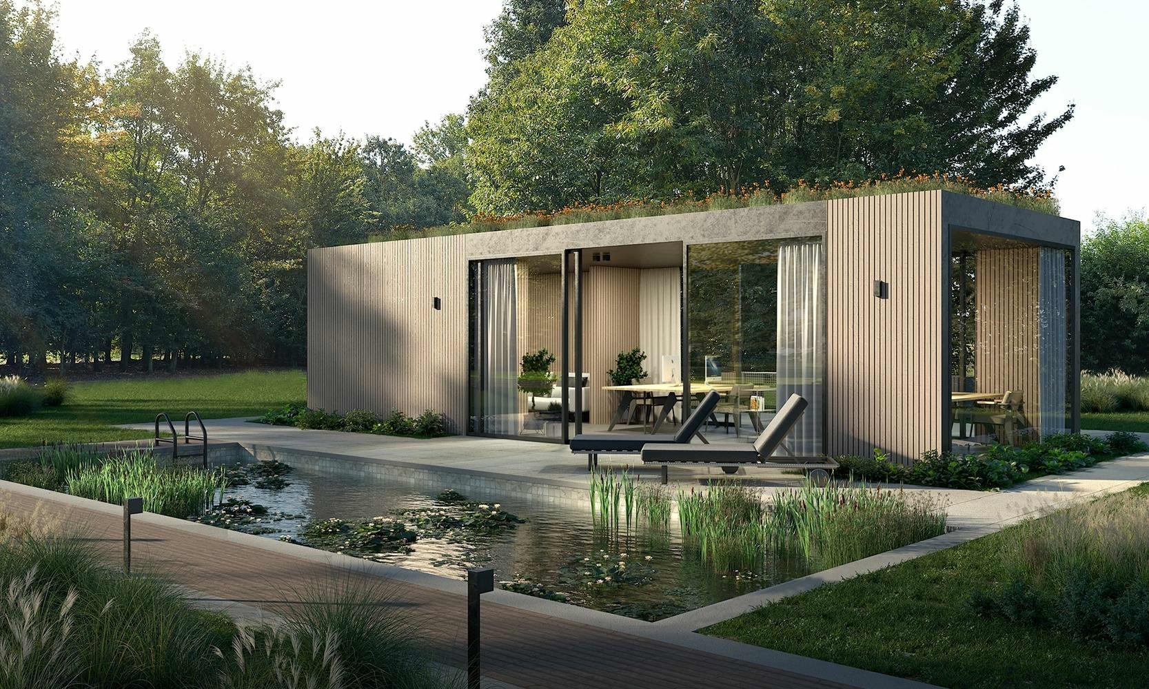 houten bijgebouw met plat dak als poolhouse in de tuin