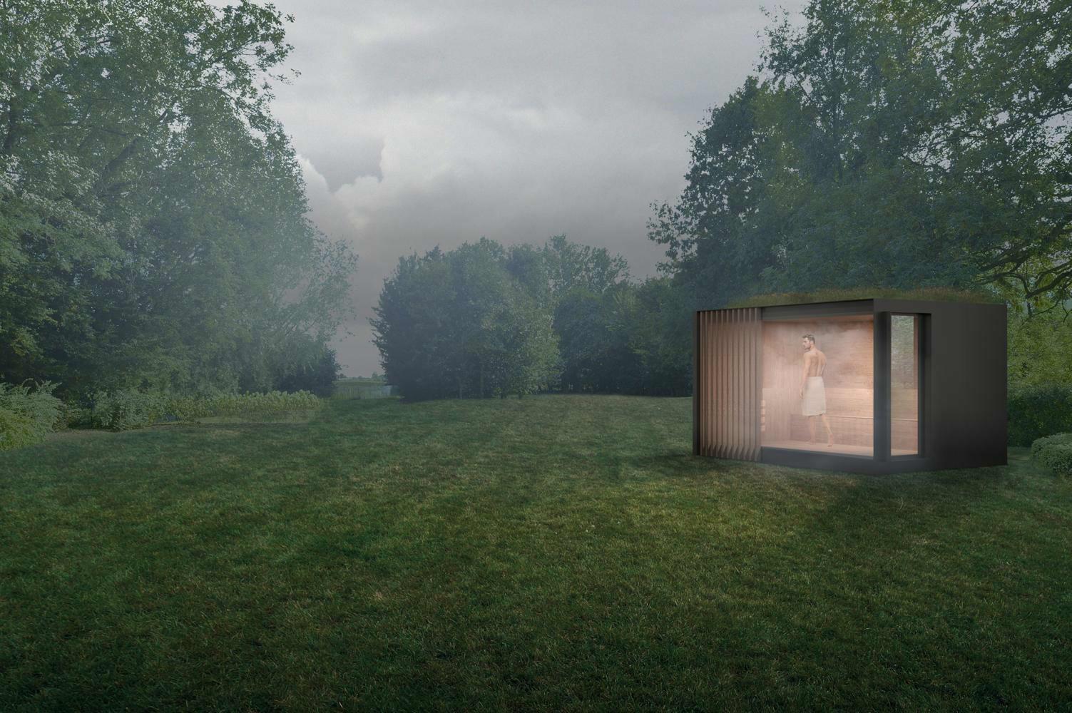 houten buitengebouw met plat dak als outdoor sauna in tuin