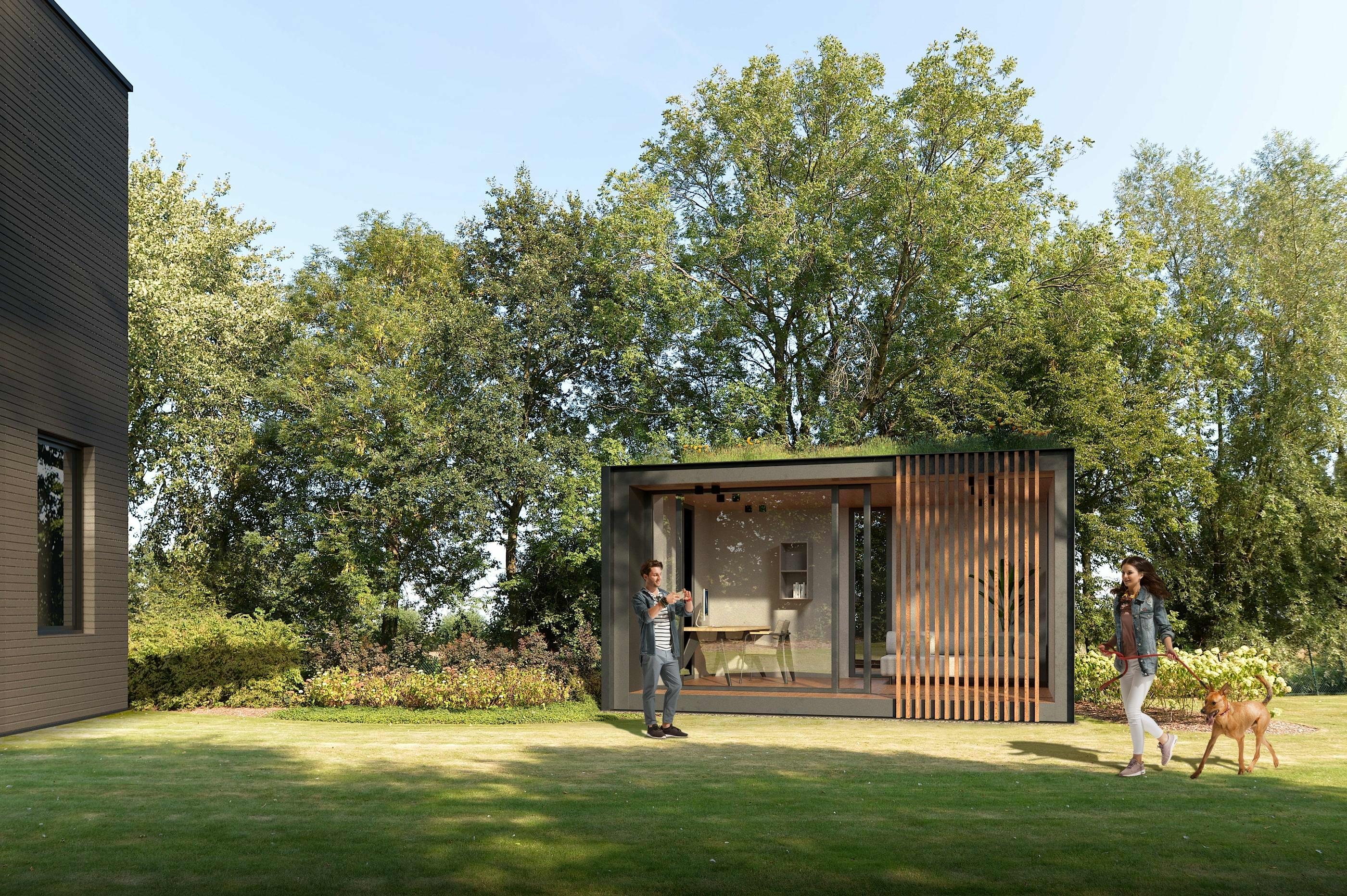 modern houten bijgebouw in tuin, gebruikt als tuinkantoor